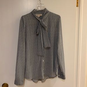 Michael Kors Blue & White Blouse Large